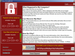 WannaCry screen capture; taken from the KrebsOnSecurity article