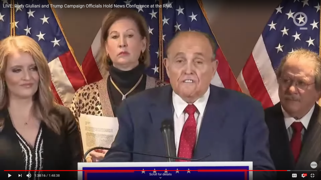 Image captured from the bizarre Nov. 19, 2020 press conference where the Trump legal dream team told us about Venezuelan voting machines.
