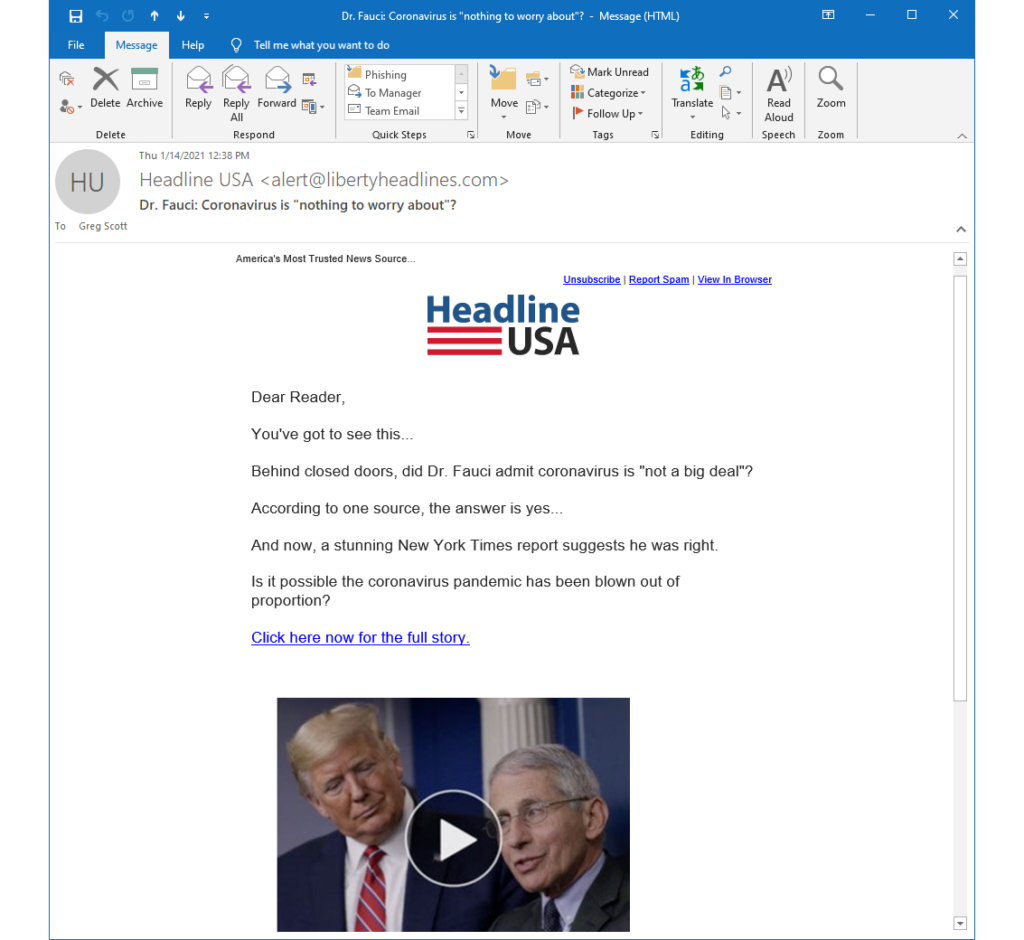 The Headline USA banner with references to Dr. Fauci and the NY Times manipulated me into falling for a clickbait phishing scam.