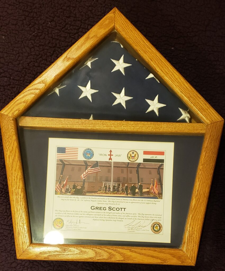Post 9/11, I am privileged to have this flag and case.
